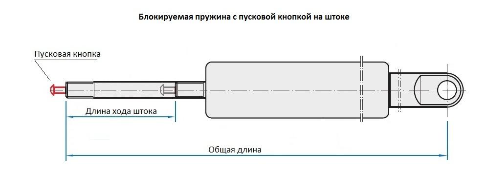 блокируемая пружина с пусковой кнопкой на штоке